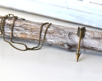 Antique Bronze Arrow Necklace- Long Arrow Necklace- Arrow Necklace- Arrow Jewelry- Long Boho Necklace- Affordable- Gift for Her- Boho