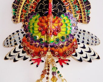 Spectacular New Lunch At The Ritz Gobble Gobble Turkey Brooch/ Pendant