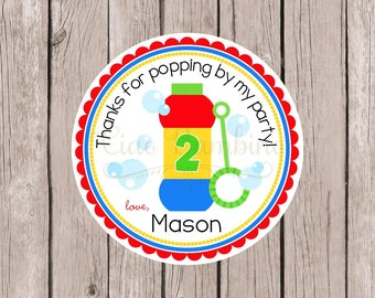Bubbles Birthday Party Favor Tags or Stickers / Personalized Tags or Stickers for Bubbles / Cute Party Favor for a Summer Party / Set of 12