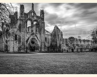 Framed Photographic Fine Art Mono Print. Kirkstall Abbey, Yorkshire, England