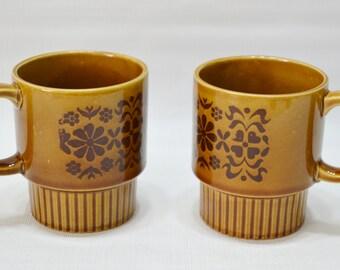 Vintage Brown Stackable Japan Coffee Mugs - set of 2