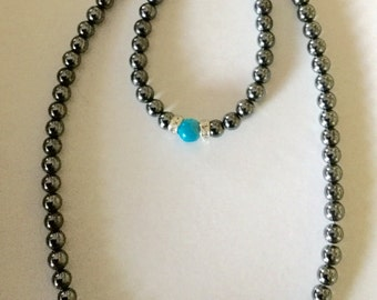 Hematite and Turquoise with Swarovski Crystal Necklace and Bracelet