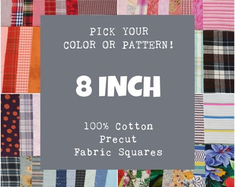 8 Inch Precut Fabric Squares, 100% Cotton, Pick Your Color or Pattern, 10 Quilt Squares
