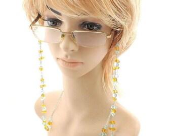 Eye Glasses Silver Chain Natural Blue Topaz and Citrine