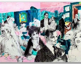 """LeRoy Neiman Limited Edition SIGNED Serigraphs ~ """"POLO LOUNGE """" Diptych ~ # 624/700 ~ Diptych (2 panels)"""