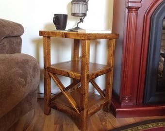 Country Farmhouse Rustic End Tables