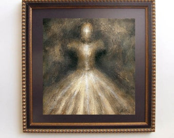 Miriam - Original oil painting on paper-Framed gothic art-Victorian darkstyle-Wall decor