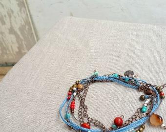 Multi strand  wrap bracelet or necklace boho chic beaded 3 strand necklace tagt team