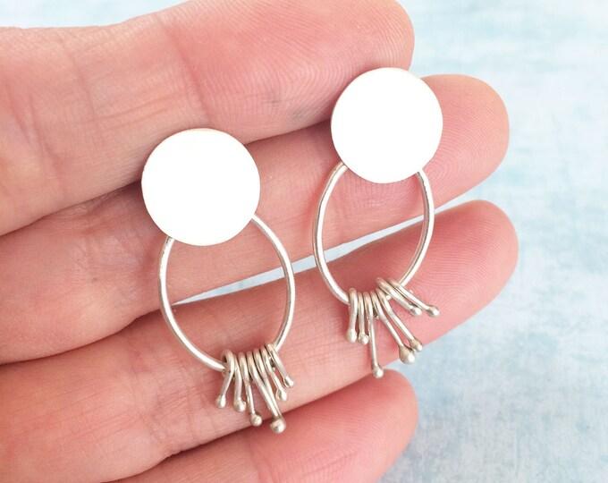 Sterling silver stud earrings - drop and dangle geometric earrings - modern earrings -simple circle and oval earrings -contemporary jewelry