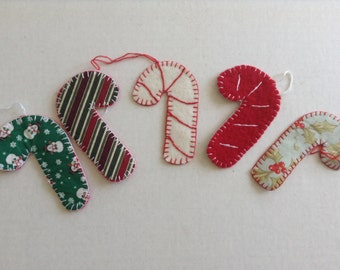 WOOL CANDY CANES - for Christmas 3 white and 3 red.  Christmas decorations
