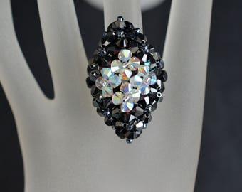 Crystal ring of Swarovski hematite 2x - crystal ab2x - marquise style
