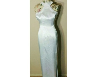 Vintage 80s White Evening Gown Size XS