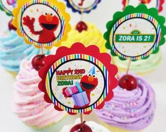 Personalized Sesame Street Elmo Birthday Cupcake Toppers