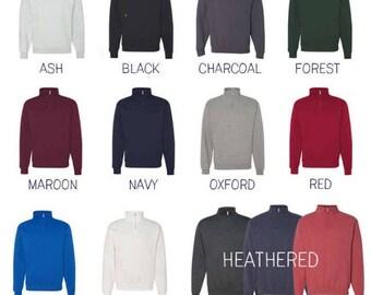 Quarter Zip Monogrammed Sweatshirt ~ 1/4 Zip Monogram Pullover Sweatshirt ~ Gift for Her