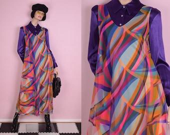 60s Colorful Slip Dress/ Large/ 1960s/ Tank/ Sleeveless
