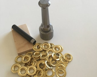 Do It Yourself Grommet Kit size No. 4 Solid Brass Grommets