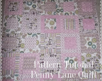 Penny Lane Framed Block Quilt Tutorial with Photos, pdf, Instant Download