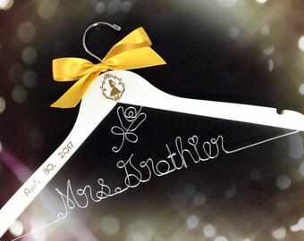Disney wedding hanger,beauty and the beast hanger, Personalized wedding Hanger,Disney Princess hanger, Custom Hanger,Mrs Hanger,Shower Gift