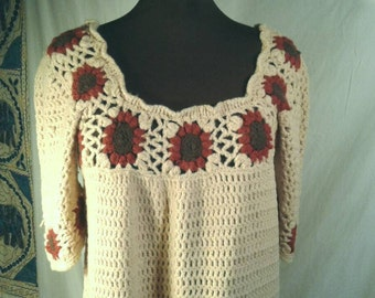 Hand Crochet Dress Full Length Pullover Scoop Neckline Openwork Crocheted Sweater Off White Tan Brown Women's Size Medium Large XL