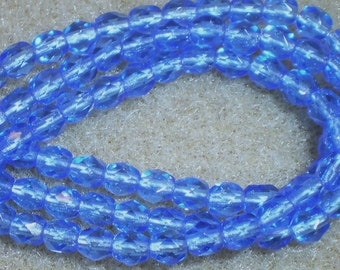 4mm Sapphire Blue Fire Polish Glass Bead 8 Inch Strand