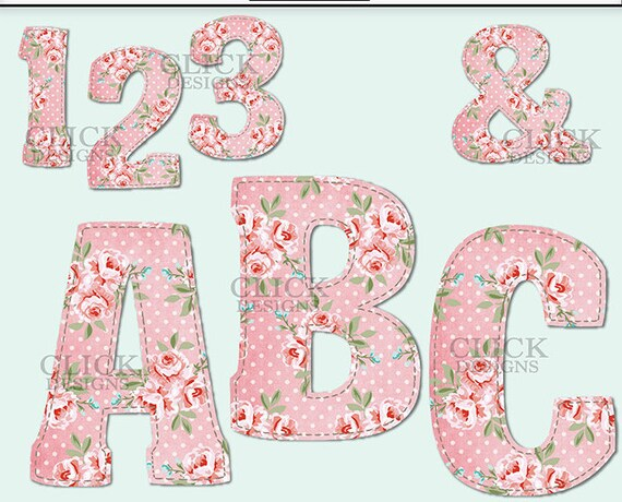 Shabby Pink Alphabet Digital Clipart Letters Numbers Symbols
