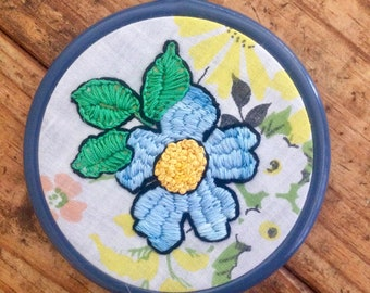 Blue Flower  - hand embroidery hoop art
