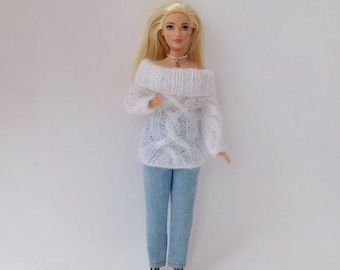 Cable sweater white mohair for Curvy Barbie, Clothes Knitted for doll, Barbie clothes, Barbie outfit in stock and on order, Ready to ship