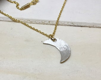 Crescent Moon Necklace // Small Silver Moon Necklace // Dainty Necklace // Mixed Metal Jewelry // Sterling Silver // Gold plated