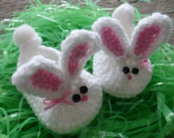 Crocheted Baby Bunny Booties with Bow, Crocheted Baby Booties, Crocheted Baby Girl Booties