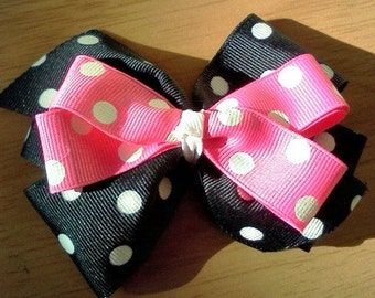 hair bow girls toddlers women black and white polks dots and pink and white polka dots