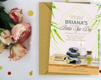 Spa Day Bridal Shower Invitation. Spa Day Party Invitation, Hand Painted Spa Invitation, Spa Day Birthday Party, Digital