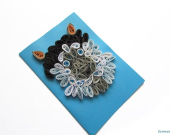 Husky Quilling Card, Greeting Card with Quilled Husky Dog, Funny Quilling Card