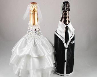 Champagne bottle set Bride groom bottle Champagne bottle decor Bottle decoration Wedding champagne bottle Custom champagne  Champagne label