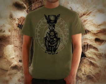 Steampunk rabbit khaki t shirt for men, screen printed men's short sleeve tee shirt, Size S, M, L, XL, XXL