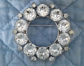 Sherman Clear Round Brooch, c.1950
