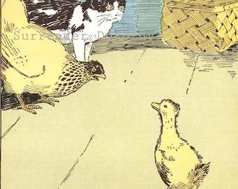 Little Chicken's Lesson Hugh Spencer Original Vintage Children's Nursery Print To Frame 1926