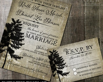 Tree Wedding Invitation | Vintage Tree Printable Wedding Stationery | Rustic Wedding Invite and RSVP | DIY invitation | Printable invite