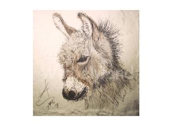 Kunstdruck einer Tusche- u. Aquarellzeichnung, Sepia-Farbvariante  - Kleiner Esel (21 x 30 cm)