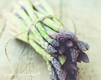 Food Photography - Kitchen Art - Asparagus Photograph - Dining Room Decor - Foodie Gift - Fine Art Photography Print - Green Gray Home Decor