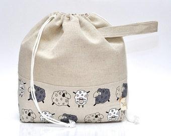 LARGE Drawstring Knitting Project Bag. Special KnitterBag design.