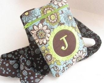 Women's Small Clutch Bag Passport Purse Quilted Monogrammed Custom Personalized teal brown peridot green