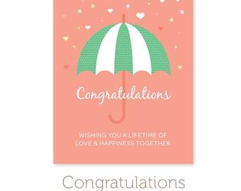 Graduation Quote Good Luck Card Wedding Congratulations - Bridal shower card template