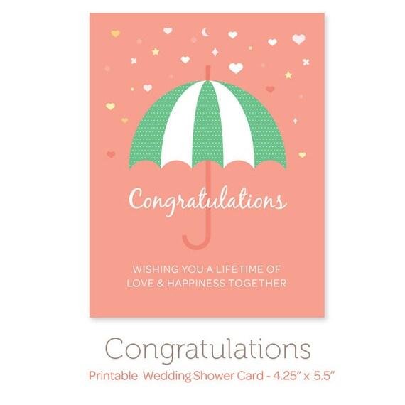 Printable Wedding Shower Card Instant Download Printable - Bridal shower card template