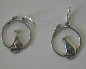 Cat and Mouse Hoop Earrings