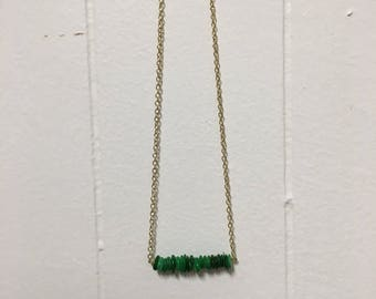 Green Stone Beaded Bar Necklace