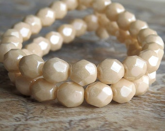 6mm Opaque Champagne Luster Czech Glass Bead Faceted FP Round : 25 pc 6mm Champagne Bead