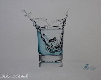 """Original watercolor """"Water Glass"""""""