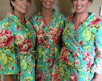 Wedding Day Floral Robe, CUSTOM Bride, Bridesmaids, Photo Op, Bride Gift, MOB, MOG, Free Shipping