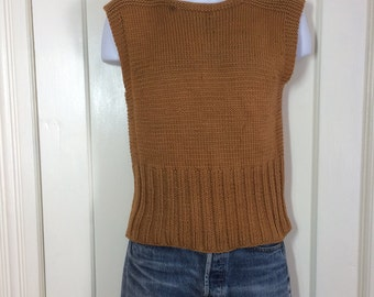1940's WWII era wool handknit work Sweater Vest looks size Small Military Army gold brown American Red Cross A.R.C. arc 6.75 inch long cuff