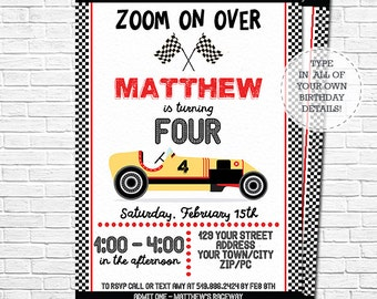 Racing Party Birthday Invitation - Race Car Birthday - Racing Invitation - Race Car Invitation - Download & Personalize in Adobe Reader
